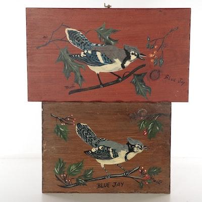 "Acrylic Paintings ""Blue Jay,"" Late 20th Century"