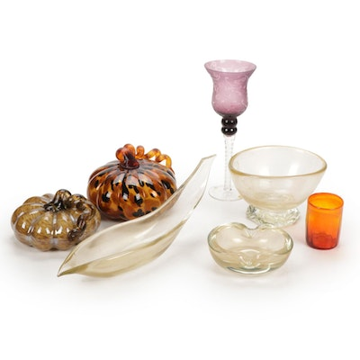 Blown Glass Pumpkins and Other Autumn Themed Tableware