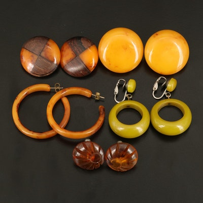 Wood and Bakelite Earrings Including Rootbeer, Butterscotch and Split Pea