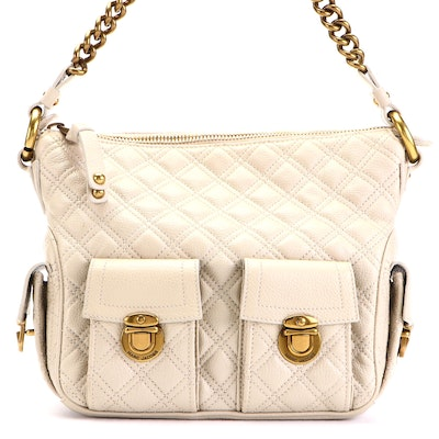 Marc Jacobs Shoulder Bag in Quilted Grained Leather with Chain Strap