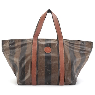 Fendi Horizontal Small Tote Bag in Pequin Striped Coated Canvas and Leather