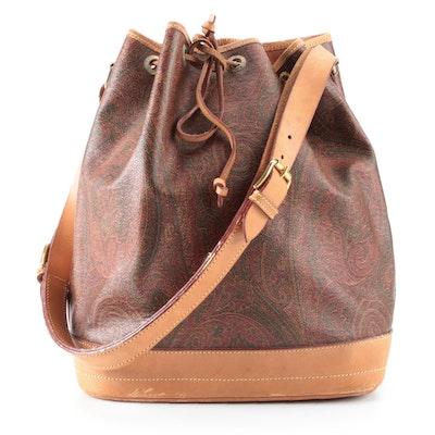 ETRO Drawstring Shoulder Bag in Paisley Canvas with Leather