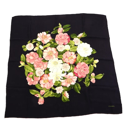 Chanel Jacquard Bow and Camellia Print Silk Scarf