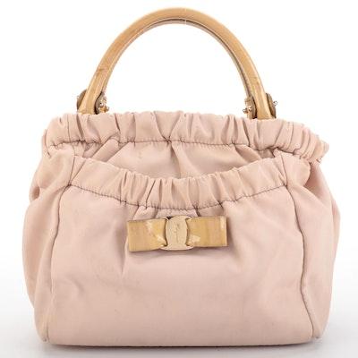 Salvatore Ferragamo Vara Bow Gathered Blush Nylon Top Handle Bag