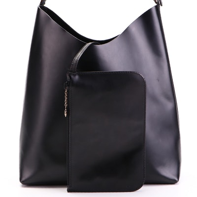 Gucci Black Leather Shoulder Bag with Zip Pouch