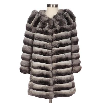 Chinchilla Fur Coat with Bracelet Length Sleeves