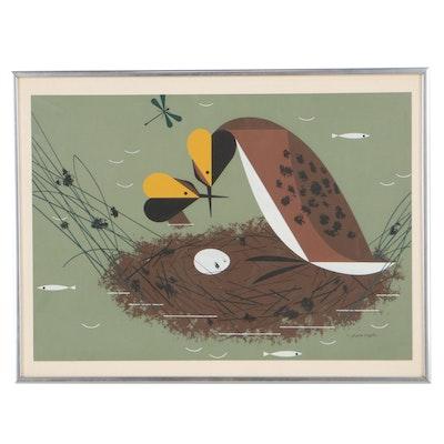 """Serigraph After Charley Harper """"Horned Grebes"""""""