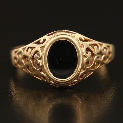 14K Black Onyx Openwork Signet Ring