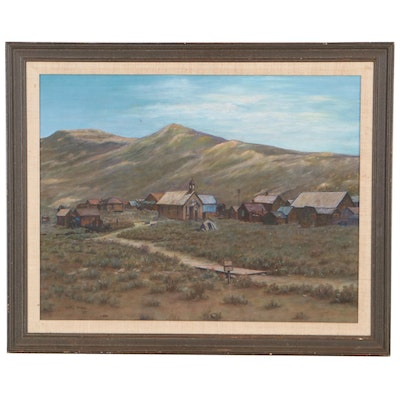 """Sally Stone Landscape Oil Painting """"Ghost Town,"""" 1984"""