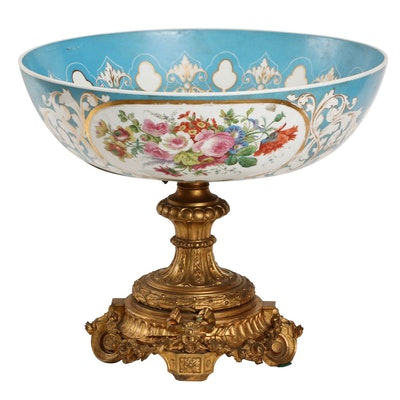Hand-Painted Porcelain Centerpiece Bowl on Bronze Stand, Early 20th Century