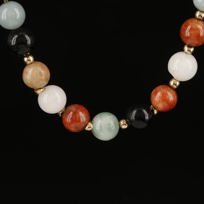 14K Jadeite and Black Onyx Beaded Necklace