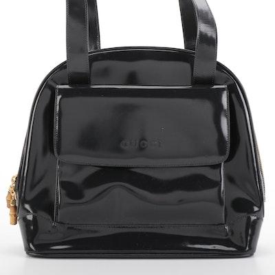 Gucci Zip-Around Shoulder Bag in Dark Grey Patent Leather with Bamboo Zip Pulls
