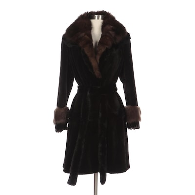 Sheared Mink Fur Coat with Sable Fur and Scalloped Trim, and Mink Fur Belt