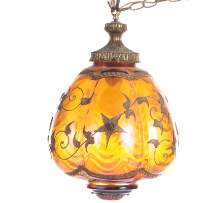 Carl Falkenstein Iridescent Amber Glass Swag Lamp, Mid-20th Century