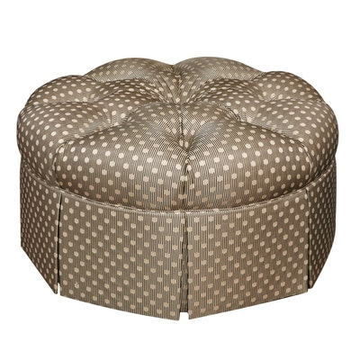 Pearson Tufted and Pleated Skirt Round Ottoman