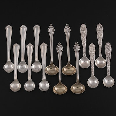 """Gorham """"Clermont"""" with Other American Sterling Silver Salt Spoons, Early 20th C."""