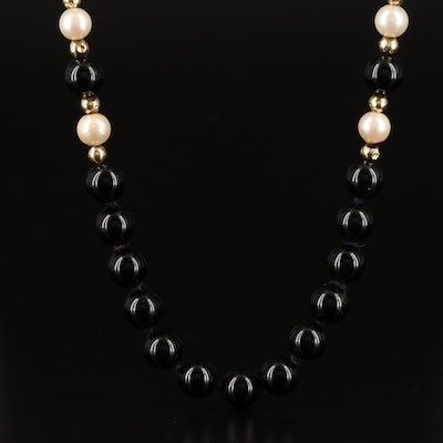 14K Black Onyx and Pearl Endless Beaded Necklace