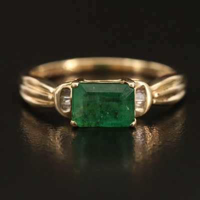 14K Emerald and Diamond Ring with Fluted Shoulders