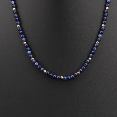 Sodalite Beaded Necklace with 14K Spacer Beads and Findings