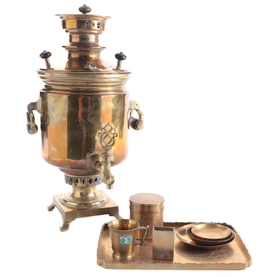 Imperial Russian Brass Samovar, Late 19th/Early 20th Century and More