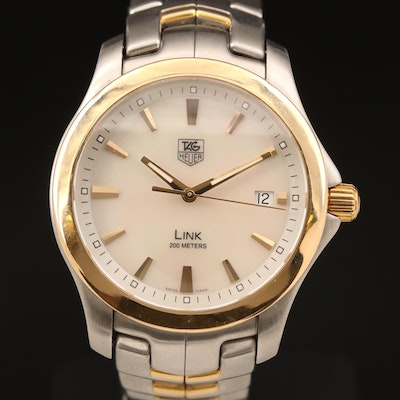 TAG Heuer Link Two Tone and Mother of Pearl Dial with Date Wristwatch