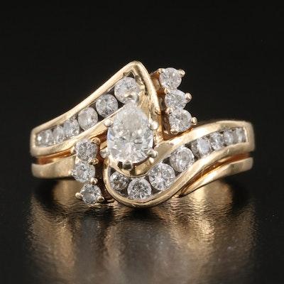 14K 0.98 CTW Diamond Bypass Ring