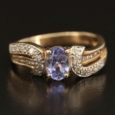 10K Tanzanite Ring with Diamond Lined Split Shoulders