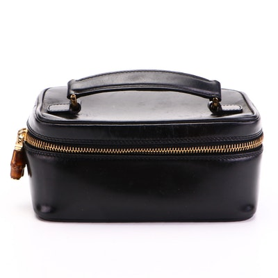 Gucci Glazed Black Leather Vanity Pouch with Bamboo Zipper Pulls