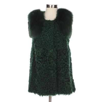 Ai Zhen Ni Green Dyed Curly Lamb Fur Long Vest with Fox Fur Shoulder Trim