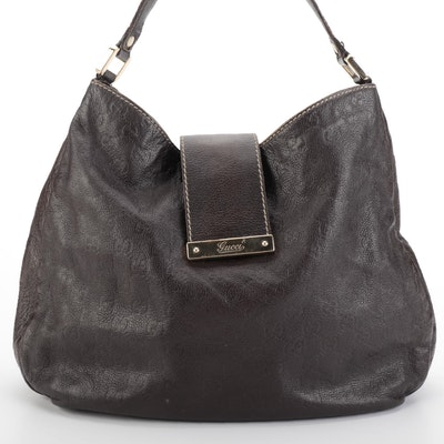 Gucci Large Hobo Shoulder Bag in Dark Brown Guccissima Grained Leather