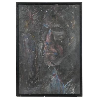 Abstract Gouache and Watercolor Portrait, Circa 1960