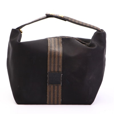 Fendi Top Handle Cosmetic Bag in Black Nylon with Pequin Stripe
