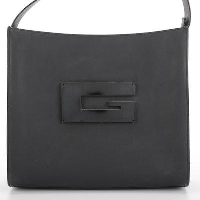 Gucci Shoulder Bag with Large Square G Logo in Matte Black Leather