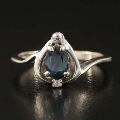 14K Sapphire and Diamond Knife-Edge Ring