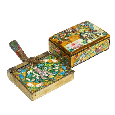 Chinese Canton Enamel Silent Butler and Cigarette Box, Early to Mid 20th Century