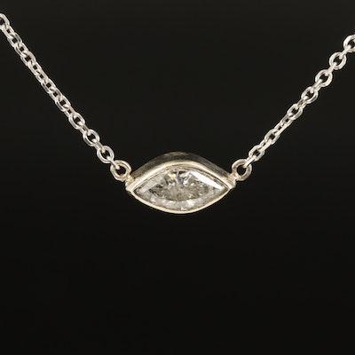 14K 0.81 CT Diamond East West Necklace