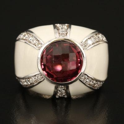 18K Tourmaline, Diamond and Enamel Ring