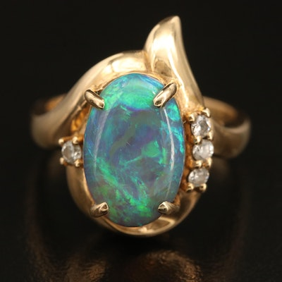 18K Oval Opal Cabochon Ring with Diamond Accents