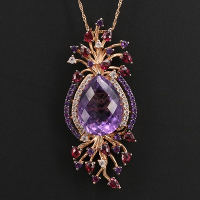 Le Vian 14K Amethyst and Mixed Gemstone Pendant on 10K Singapore Chain