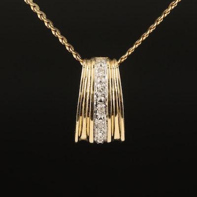 14K 0.05 CTW Diamond Enhancer Pendant on Serpentine Chain Necklace