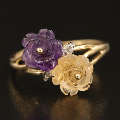 14K Citrine and Amethyst Carved Rose Ring with Diamond Accents