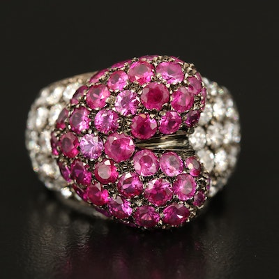 18K Ruby and 3.13 CTW Diamond Heart Ring
