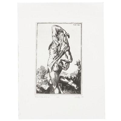 "Andy Hudson Anatomical Etching After Odoardo Fialetti ""Bartholomew,"" 1994"