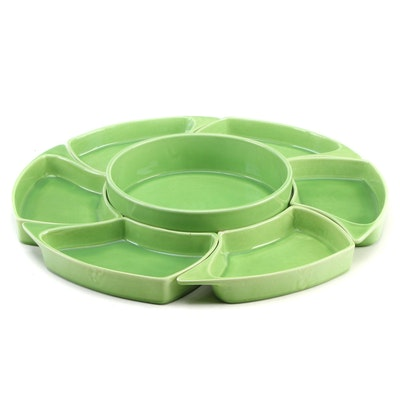 Lime Green Glazed Modular Ceramic Serving Set, Late 20th Century