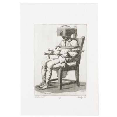 """Andy Hudson Etching """"Restraint,"""" 1995"""