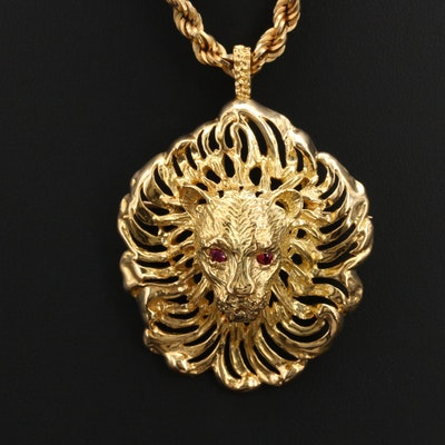 18K Lion Converter Brooch with Ruby Eyes on 14K Rope Chain Necklace