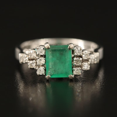 14K Emerald and Diamond Step Ring with Openwork Gallery