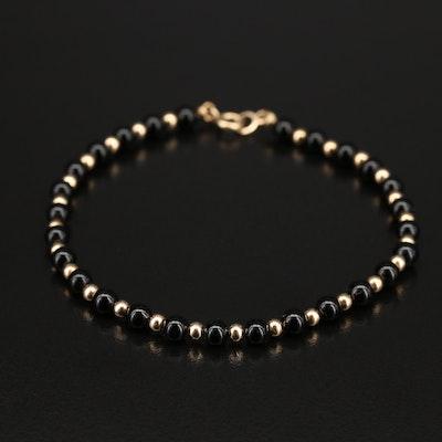 14K Black Onyx Beaded Bracelet