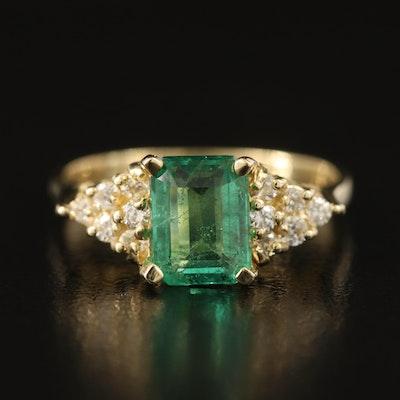 14K 1.28 CT Emerald and Diamond Step Ring