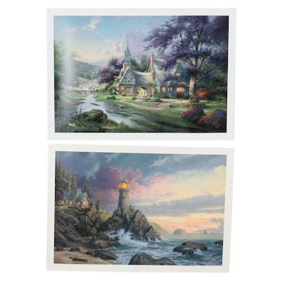 Thomas Kinkade Offset Lithographs of Lighthouse and Cottage